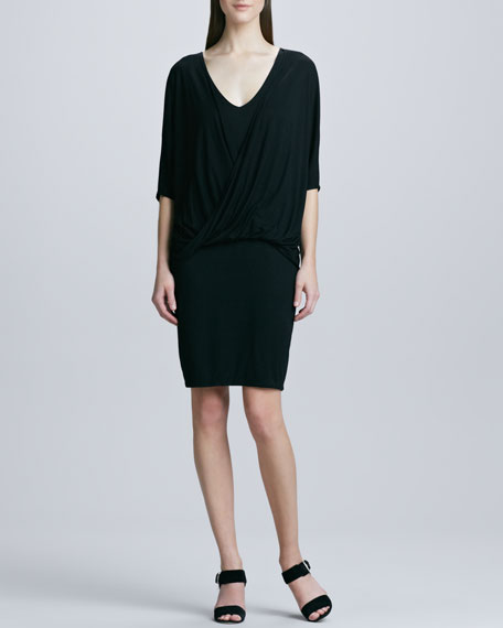 Dolman-Sleeve Draped-Front Dress