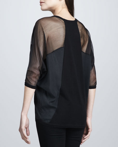 Drama Dolman-Sleeve Sheer Blouse