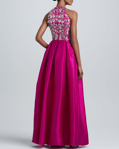 Beaded-Bodice Gown