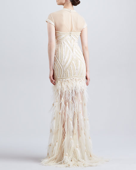 Beaded Embroidered Feather Skirt Gown