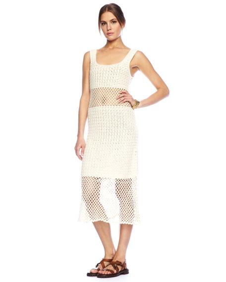 Crochet Tank Dress, Ivory