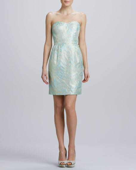 faye strapless jacquard dress