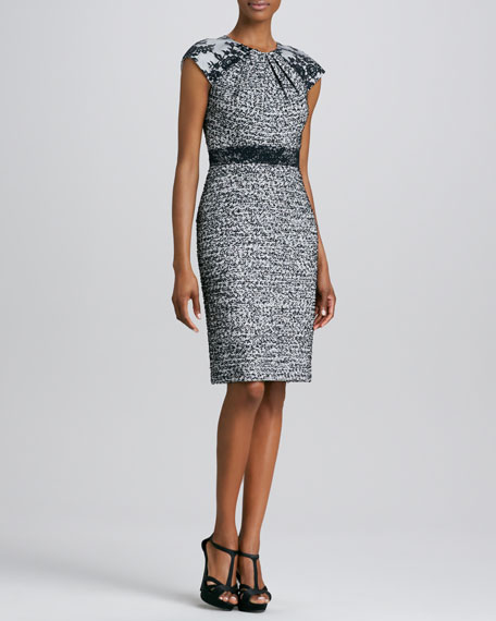 Cap-Sleeve Tweed Cocktail Dress