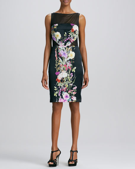 Sleeveless Floral-Panel Cocktail Dress