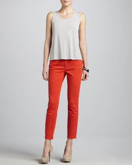 Eileen Fisher Skinny Garment-Dyed Ankle Jeans