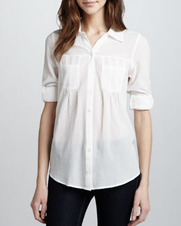 Joie Pinot Rolled-Sleeve Blouse