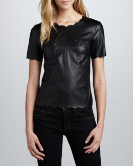 BCBGMAXAZRIA Scallop-Trim Perforated Leather Top