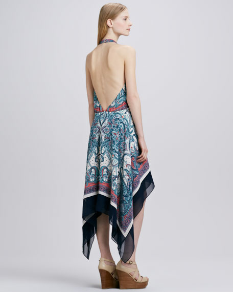 Paisley-Print Draped Halter Dress