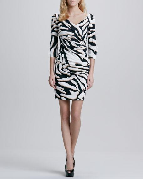 Bentley Zebra-Print Ruched Dress