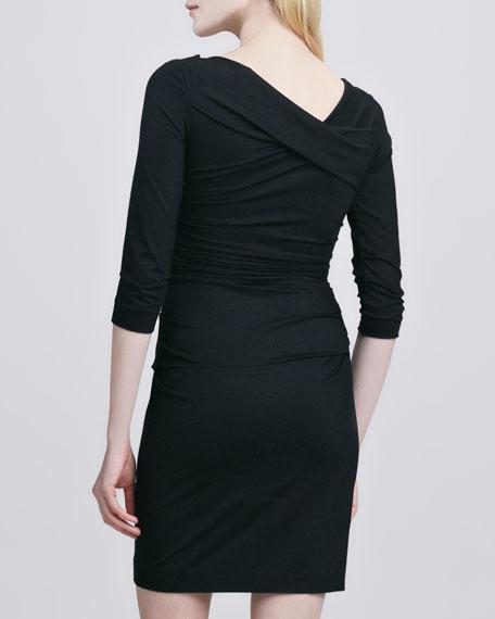 Bentley Faux-Wrap Dress, Black