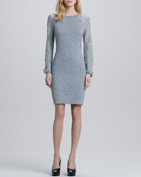 Isla Lace-Sleeve Sweaterdress, Gray