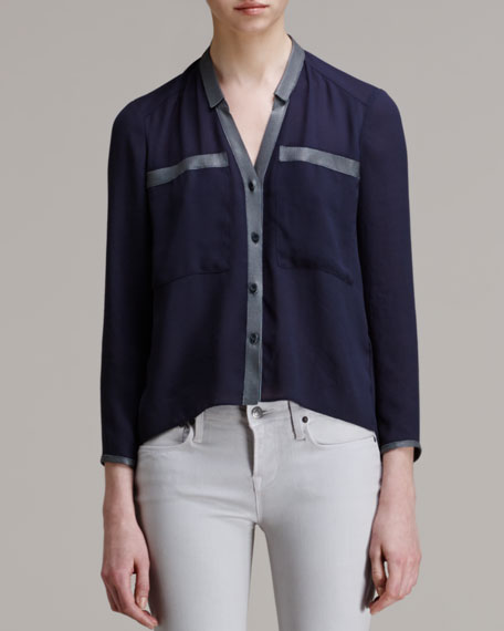 Soft Shroud Button-Down Blouse