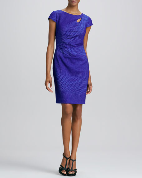 Cap-Sleeve Jacquard Dress