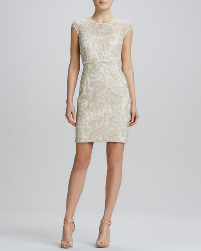 Kay Unger New York Boat-Neck Lace Cocktail Dress