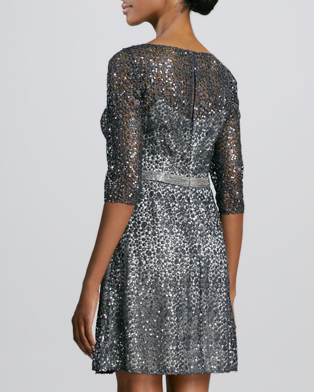 Lace-and-Sequined Cocktail Dress