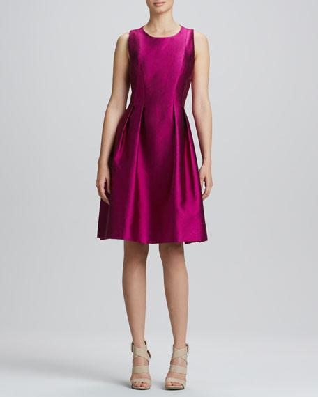 Jewel-Neck Full-Skirt Cocktail Dress