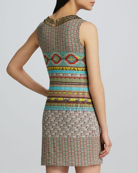 Studded Keyhole Printed Dress
