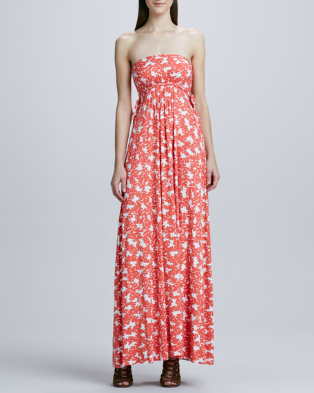 Strapless Long Dragonfly Printed Dress