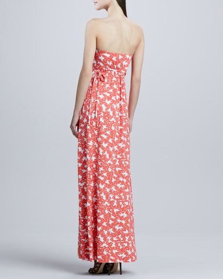 Strapless Long Dragonfly Printed Dress, Women's