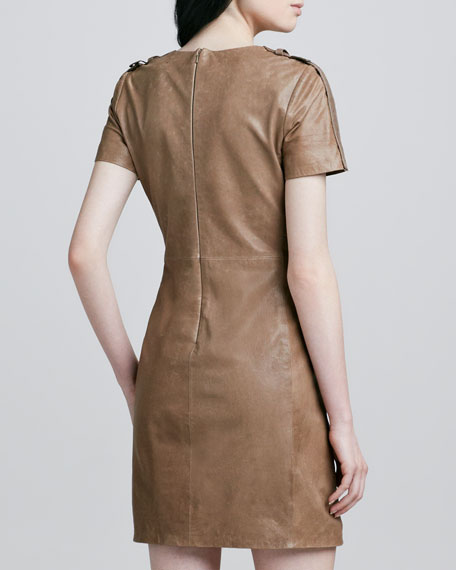 Luella Short-Sleeve Leather Dress