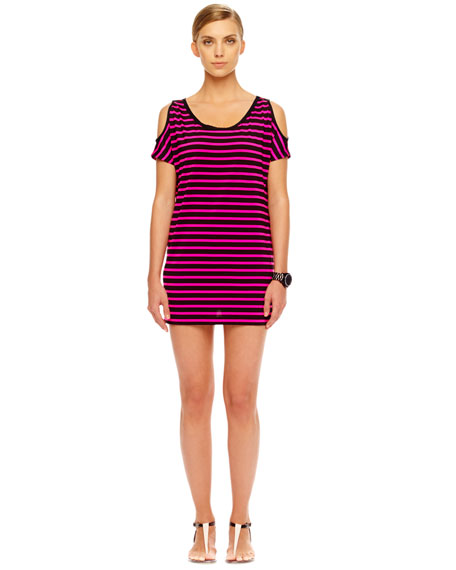 Jardin Striped Cold-Shoulder Coverup