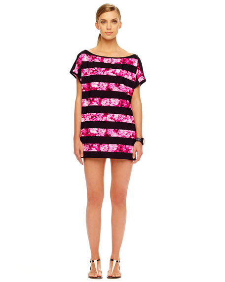 Chatsworth Striped Floral-Print Coverup
