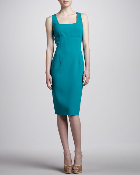 Square-Neck Sheath Dress, Turquoise