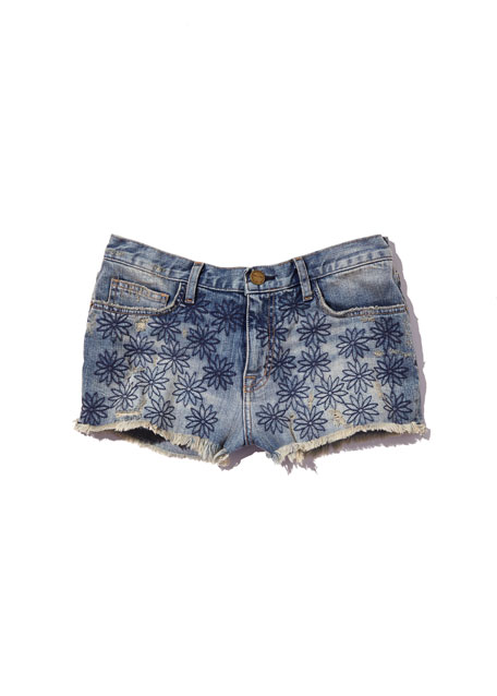 Embroidered Denim Boyfriend Shorts