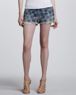 Current/Elliott Embroidered Denim Boyfriend Shorts