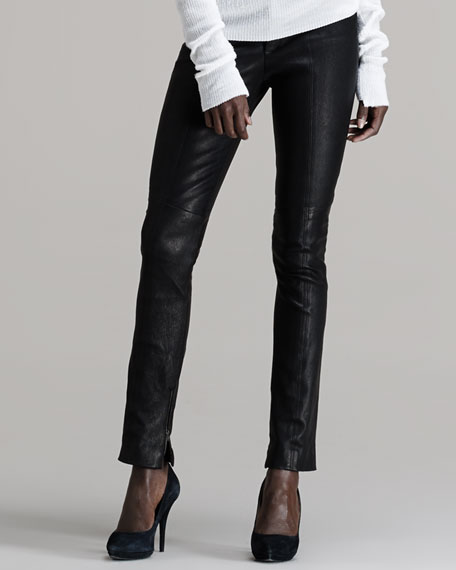 Theres Zip-Leg Leather Pants