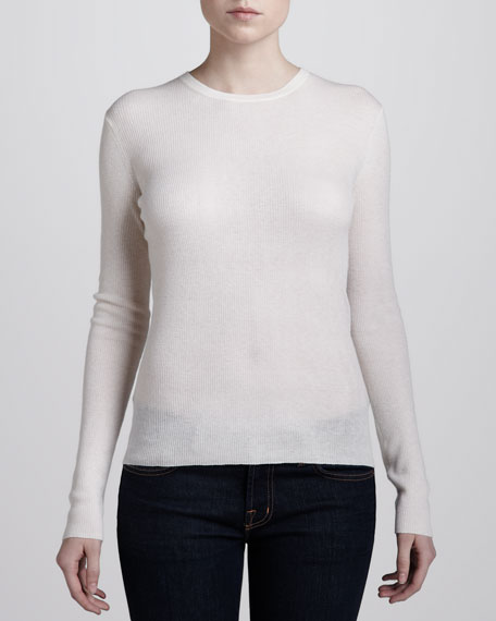 Featherweight Cashmere Crewneck Sweater, Ivory