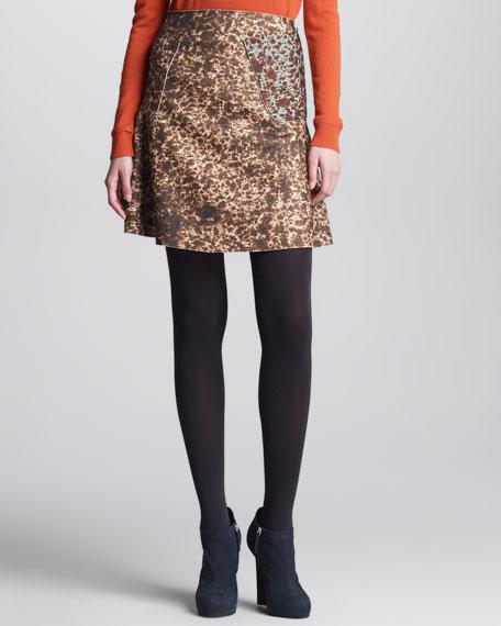 Spotted Felt Skirt, Moka