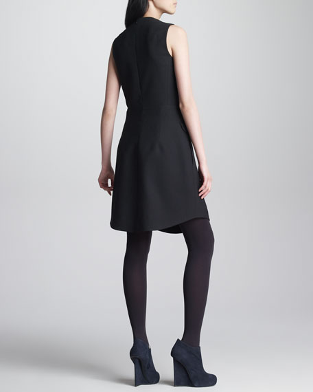 Sleeveless Gabardine Suiting Dress, Black
