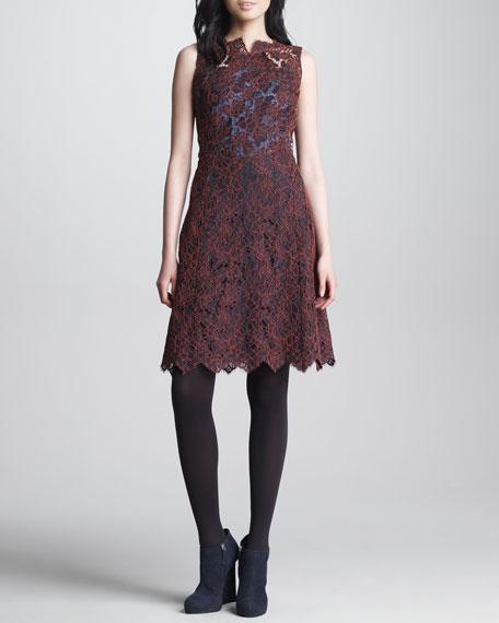 Oxford-Back Lace Dress, Bordeaux