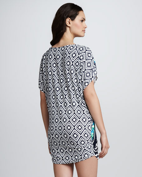 Fitted Mix-Print Tunic Coverup
