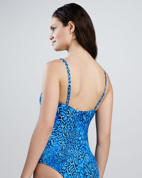 Tropical Nights Twisted One-Piece, Sapphire
