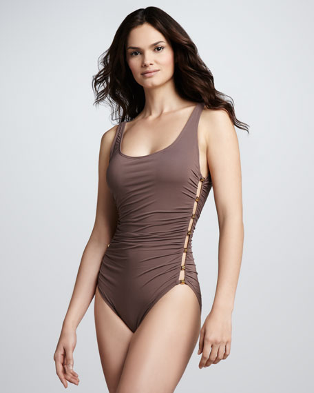 Ruched Side-Stud One-Piece