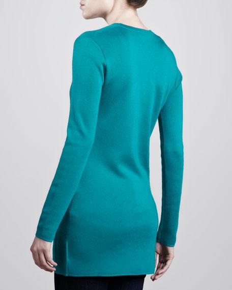 Long Cashmere Cardigan, Turquoise
