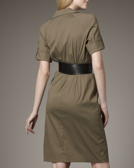 Center-Ruched Dress With Belt