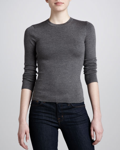 Long-Sleeve Cashmere Sweater, Gray