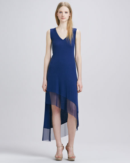 Knit Sheer-Hem Dress