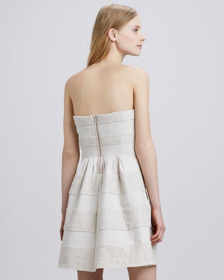 Strapless Texture-Stripe Dress