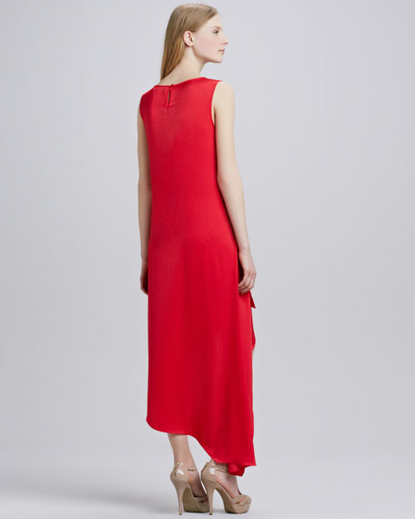 Asymmetric-Hem Keyhole Dress