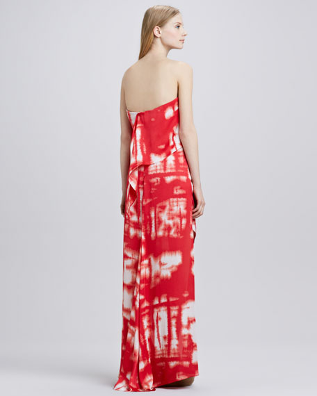 Tie-Dye Strapless Maxi Dress