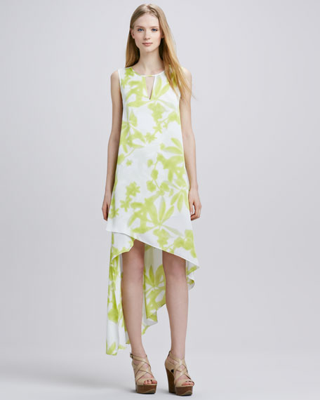 Printed Asymmetric-Hem Keyhole Dress