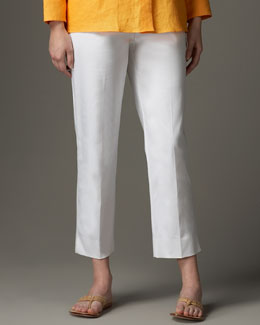 Neiman Marcus Cropped Straight-Leg Pants