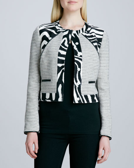 Mixed Media Zebra-Print Jacket