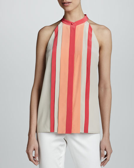 Colorblock Pleated Halter Top