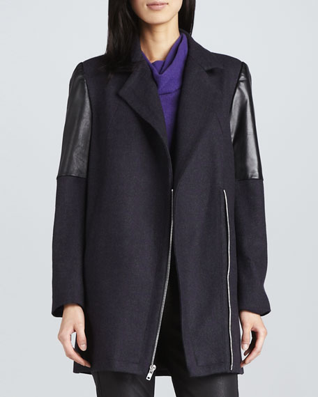 Houndstooth Leather-Panel Coat