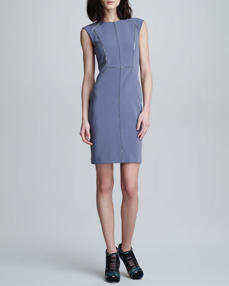 Zip-Trim Crepe Dress